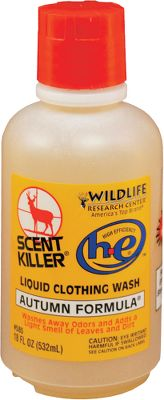 Hunting Autumn Formula Clothing Wash delivers the superior scent-reducing qualities of Scent Killer formula. It is blended with non-alarming odors common to the woods. Available: 18-oz., 32-oz. bottles. Size: 18 OZ. Gender: Male. Age Group: Adult. Type: Detergents. - $7.99