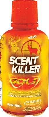 Hunting Human scent cannot be 100% eliminated, but taking steps to eliminate as much of it as possible will dramatically improve your odds when upwind from game. Washing garments in Scent Killer Gold detergent neutralizes more human scents, helping you take your scent elimination seriously for a more successful hunt. Ultraconcentrated odor-fighting power with ultrapremium stain- and dirt-fighting power. Special H-E formula contains no UV brighteners, and provides twice as many loads per ounce than regular Scent Killer Liquid Clothing Wash. Size: 18-oz. bottle. Color: Gold. - $11.99