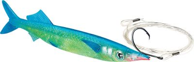 Fishing With its unique nose construction, you can troll this lure at 2 to 8 knots for lifelike swimming to catch all saltwater predators. Pro-Rigged model has a circle hook. Rigged with 6 ft. of 100-lb. test line. Includes 1 Pro-Rigged/2 Unrigged. Size: 9-1/2 . Colors: (496)Black, (497)Blue. Size: 9.5. Color: Black. Type: Offshore Trolling. - $17.99
