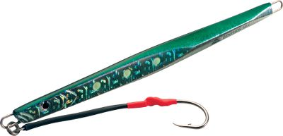 "Fishing The diamond-shaped design allows this jig to drop vertically with little resistance and drift, so you can place it right on top of the fish. Glow-in-the-dark painted details will get the predator's attention and trigger it to strike. Each comes prerigged with a single assist hook. Per each.Sizes: 7"", 5 oz.7-3/4"", 7 oz.8-1/4"", 9 oz.9-12"", 14oz.Colors: (004)Green, (008)Chartreuse, (009)Pearl, (010)Blue/Purple. - $7.88"