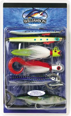 Fishing When the striper or bluefish bite is on, the action can be intense. These fish are known to inhabit a number of different underwater environments from offshore rock piles and underwater structure to the flats, but you'll be ready wherever you find them with this complete lure kit. Included are one each of the following:Abyss Speed Jig: With beveled belly to slow descent with a tempting flutter, this jigging lure imitates herring with incredible realism.Hot Lips Jig: Crafted using real deer buck-tail hair, the addition of an eel trailer makes this jig a tantalizing target.Bait'O Matic: Realistic swimming action is the hallmark of this trolling lure, and when you attach a dead bunker, squid or mackerel to the two wire-rigged hooks, all that's left to do is hang on and wait for the hit. Benthos Speed Jig: Perfect for presentation over mussel beds and rock piles, this lure mimics a sand eel.Banjo Eye Jig: The perfectly balanced, rocking head design helps cut down on snags when jigging around structure and rocks.Live Series Mackerel: So anatomically and cosmetically close to the real thing that hungry fish simply can't ignore its swimming action. Type: Offshore Trolling. - $54.99