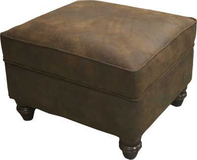 Entertainment Capture a piece of America's Western history right in your own living room. The ottoman has a rich brown, microdenier fabric to give it the look and feel of leather and provides durability that will last for years. The ottoman matches the wing chair perfectly and accents the rest of the Winchester furniture collection. Kiln-dried, hardwood frame construction. Limited lifetime warranty. Made in USA. Dimensions: 28 L x 24 D x 19 H. Color: Brown. - $599.99