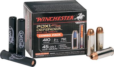 Stop The Threat with the perfect ammo combo for Taurus Judge revolvers. Bonded lead/copper PDX 1 .45 Colt ammo penetrates tough barriers with maximum weight retention and has six-segment jacket notching for reliable, controlled expansion. Bullets are 225-gr. bonded JHPs. 2-1/2 PDX 1 .410 shotshells have three threat-eliminating Defense Disks and 12 plated BBs great for varmint and pest control or close-range personal defense. Per 20 10 PDX 1 .45 Colt rounds and 10 PDX 1 .410 Shells. Color: Copper. - $32.99