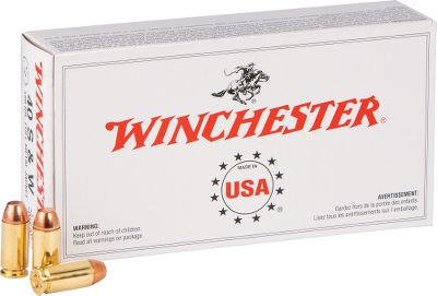 Guns and Military Experience proven Winchester accuracy and reliability at bottom-dollar prices. This new-manufacture ammunition is loaded with 180-grain FMJ bullets. Reloadable brass cases. Made in USA. Includes a Dry-Storage Box with every bulk purchase, a $14.99 value. Bullet Weight: 180 Grain. Number of Rounds: 300. Type: Centerfire Handgun Ammunition. No. of Dry- Boxes: 1. Caliber: .40 Smith & Wesson. Bullet Type: FMJ. Cal/Gaug .40 S&w 180gr-300-Bx. - $134.99