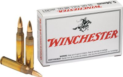 Hunting Winchester USA ammunition is made for the high-volume shooter who demands consistent accuracy with no barrel leading. All rounds are loaded with new-manufacture reloadable brass cases and noncorrosive boxer primers. Offered in popular calibers for high-volume shooting. Made in the USA. Available: .223 Rem. Topped with a 55-gr. FMJ bullet. With a muzzle velocity of 3,240 fps, its a perfect round for targets, training or plinking. .22-250 Rem. A dependable varmint round. Features a jacketed hollow point bullet for explosive fragmentation and pin-point accuracy. 4,000 fps. muzzle velocity. 7.62x51 NATO Youll enjoy shooting you M1A or AR-10 even more when youre shooting ammo loaded to strict NATO standards. Ideal for use in semi-auto firearms. FMJ bullet produces a muzzle velocity of 2,800 fps. Type: Centerfire Rifle Ammunition. - $8.99