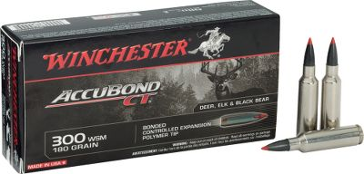 Hunting The Winchester Accubond CT Rifle Ammunition is a polycarbonate-tipped bullet with a heavy tapered jacket bonded to a lead alloy core for controlled expansion and high weight retention. Also has a boattail base and a Lubalox coating. Per 20. Type: Centerfire Rifle. - $43.99