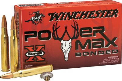 Hunting For excellent weight retention, deep penetration and superb knockdown power, look no further than Winchester Power-Max Bonded Ammunition. The core is permanently bonded to the gilded metal jacket using a proprietary process. This operation ensures a traditional mushroom that produces massive energy transfer for quick, clean kills. The controlled dramatic expansion is a result of large diameter upset that more than doubles the bullets original diameter with high weight retention. Performance like this is ideal for dropping deer, antelope and game of similar size in their tracks. Even with superior components and a special manufacturing process, youll find that Power-Max Bonded is affordably priced, premium ammunition. Per 20. Made in USA. Type: Centerfire Rifle Ammunition. - $23.99