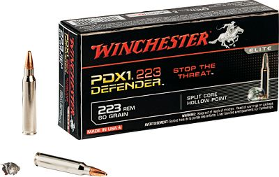 Hunting Winchesters PDX Rifle Ammo features Split Core Technology (SCT), making it the ultimate load for personal defense. A protected hollow-point design initiates expansion. The rear lead core is welded to the jacket and engineered for superior penetration. The front lead core isnt bonded to the jacket, which aids rapid expansion and improved knockdown power. 20 rounds per box. Made in USA. - $30.99