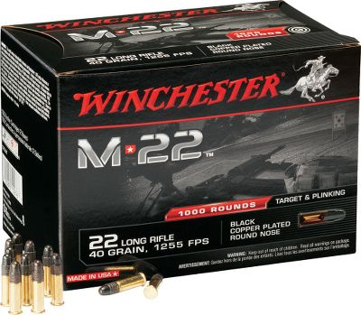Designed specifically for the high-volume shooter using high-capacity magazines. These 40-grain, blackened, round-nose bullets are highly accurate, plated for reduced fouling and enhanced function, and they maintain reliable feeding in high-capacity magazines. Clean burning powder produces consistent chamber pressure and delivers a 1,255 fps muzzle velocity. Noncorrosive primers for consistent, sure-fire ignition. Made in USA. Per 1,000. - $49.99