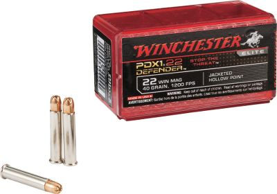 The performance of Winchesters revolutionary PDX1 Defender line is now available in .22 magnum. Reaching a blistering muzzle velocity of 1,200 fps from a 2 barrel, it delivers the ideal combination of optimum penetration and maximum expansion. The 40-grain jacketed hollow point is designed for maximum penetration and expansion, making the PDX1 the ideal round for your .22 Winchester Magnum carry gun or home-defense firearm. 50 rounds per box. - $14.99