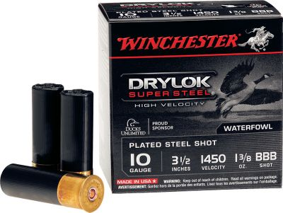 Entertainment Water-resistant, plated shot technology puts an end to rusting and clumping. A patented Drylok Super Steel wad seals out moisture for shot-after-shot consistency and offers superior patterning to standard plastic wads. A watertight, sealed primer ensures positive ignition. These new high-velocity loads deliver tremendous velocity that leads to extreme down-range performance. 25 shells per box. Sold per 10-box case. Type: Steel. - $209.99