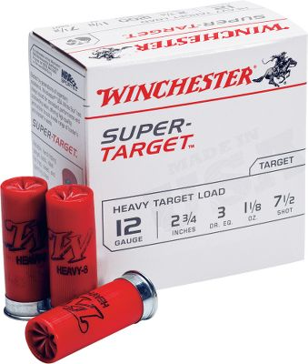 Guns and Military If you go through a lot of rounds over the course of a season and are looking to save money without sacrificing performance, Super Target is just what youve been waiting for. Formulated for consistent clay-busting performance, these competition-grade, 2-3/4 target loads produce muzzle velocities up to a sizzling 1,200 fps. 25 rounds per box. Made in USA. Sold per 10-box case. Type: Lead. - $72.99