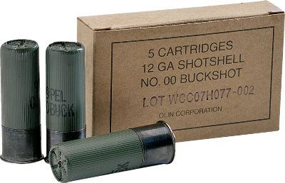 Guns and Military Save money by buying this bulk buckshot loaded to military specifications. Each 12-ga., 2-3/4 shell has a nine-pellet load of buffered 00 buckshot that produces a muzzle velocity of 1,325 fps. All cases are green with a black anodized head for low visibility. Made in USA. Five rounds per box. With every 250-round purchase, receive a Dry-Storage Box, a $14.99 value. Color: Green. Type: Buckshot. - $239.99