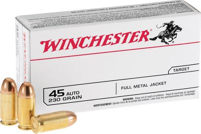 Order your .45 ACP ammo in bulk, save lots of money, and enjoy the outstanding accuracy, reliability and clean-shooting performance of Winchesters 230-grain FMJ rounds.Available: 300 rounds, one Dry-Storage Box600 rounds, one Dry-Storage Box1,200 rounds, two Dry-Storage Boxes - $143.99