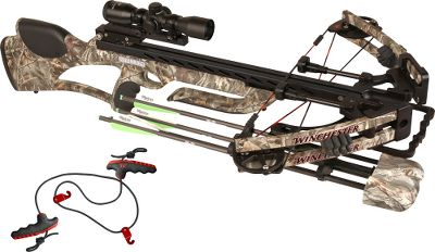 Hunting Sleek and powerful with a little rebel attitude, this crossbow-scope package isnt just a great deal its easy to carry and even easier to maneuver through the woods. The Winchester Archery Stallion crossbow is a narrow 17.5 axle-to-axle powerhouse thats incredibly compact. It has an Ultra Match trigger found on only the highest-quality rifles. Weighing in as the most powerful Winchester Archery crossbow, the Stallion sends your arrows downrange at speeds up to 340 fps with more than 110 pounds of kinetic energy. Power is harnessed in the lightweight, dual-balanced split limbs. Features a patent-pending Accu-Speed Technology two-track cam system and patent-pending arrow-retention plunger. The sophisticated dual 3K carbon-rod string-stop system and three quiet-touch areas work together to minimize shot noise and vibration, making this incredibly quiet. The ambidextrous safety and anti-dry-fire system prevents the trigger from being pulled without an arrow in place, making it incredibly safe. The WXB-Evolution FFP scope features front focal-plane reticle technology that maintains crosshair spacing no matter what power setting its on. Using the Ideal-X reticle, this is the only variable scope that is functional with any arrow speed. The unbreakable glass-etched reticle can be illuminated over a range of brightness settings to meet any hunting situation. Camera-quality multicoated lenses inside this large, 30mm scope body will squeeze out every last minute of daylight so you can enjoy your hunt that much longer. The quiver is rock solid when mounted, but easily detaches when the need arises. Upper and lower grippers firmly hold arrows with mechanical heads to fixed blades in place. The Pro Grip rope cocker allows you to realize your crossbows full accuracy potential while reducing the cocking effort by approximately 50%. The comfortable nonslip grip and deep finger grooves make this rope cocker secure and easy-to-us Type: Crossbows. IBO Speed (fps): 326-350. - $849.88