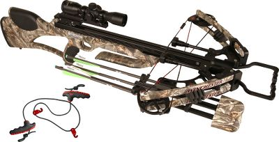 Hunting Sleek and powerful with a little rebel attitude, this crossbow-scope package isnt just a great deal its easy to carry and even easier to maneuver through the woods. The Winchester Archery Blaze crossbow is a narrow 17.5 axle-to-axle powerhouse thats incredibly compact. It has an Ultra Match trigger found on only the highest-quality rifles. Caliper jaws release the string evenly to deliver incredible consistency and downrange accuracy. The ambidextrous safety and anti-dry-fire system prevent the trigger from being pulled without an arrow in place, making it incredibly safe. Power is harnessed in the lightweight, dual-balanced split limbs.The patent-pending Accu-Speed Technology two-track cam system and patent-pending arrow-retention plunger send your arrows downrange at speeds up to 325 fps with more than 100 pounds of kinetic energy. It also features limb dampeners and dual-carbon-rod Sudden Stop string dampeners with three quiet-touch areas to minimize shot noise and vibration. The WXB Illuminator scope features a multiline reticle ideally suited for crossbows. Aptly named the Ideal-X, this reticle offers a traditional crosshair aiming point for each distance that are tapered to draw your eye quickly to the center when aiming at targets out to 70 yards. The unbreakable glass-etched reticle can be illuminated in two colors at five different brightness settings. Includes a flip-up lens cover and 1 scope rings that hold your scope in place with vise-like strength without damaging the finish, thanks to protective linings inside the rings. Crosshatch bars and machined dovetail grooves clamp firmly to any Weaver-style base and allow removal without losing your zero. The quiver is rock solid when mounted, but easily detaches when the need arises. Upper and lower grippers firmly hold arrows with mechanical heads to fixed blades in place. The Pro Grip rope cocker allows you to realize your crossbows full accuracy potential whi Type: Crossbows. IBO Speed (fps): 301-325. - $659.88
