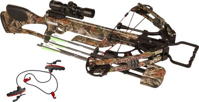Hunting Great styling, solid performance and leading-edge technology make this crossbow-scope package a great deal its also easy to carry and even easier to maneuver through the woods. A narrow 18 axle-to-axle powerhouse thats incredibly compact. It has an Ultra Match trigger found on only the highest-quality rifles. The solid, one-piece stock and fully machined 6061-aluminum risers have plenty of muscle to handle any hunting chore. A patent-pending Accu-Speed Technology two-track cam system and patent-pending arrow-retention plunger send your arrows downrange at speeds up to 315 fps with more than 90 pounds of kinetic energy. An ambidextrous safety and anti-dry-fire system prevents the trigger from being pulled without an arrow in place, making it incredibly safe. It also features limb dampeners and dual-carbon rod Sudden Stop string dampeners with three quiet-touch areas to minimize shot noise and vibration. The crystal-clear three-power WXB-3 scope has a wide field of view and excellent light-gathering ability. The uncluttered reticle has aiming points out to 70 yards with a peak-of-trajectory mark to indicate the highest point of arrow trajectory. Includes a flip-up lens cover and 1 scope rings that hold your scope in place with vise-like strength without damaging the finish, thanks to protective linings inside the rings. Crosshatch bars and machined dovetail grooves clamp firmly to any Weaver-style base and allow removal without losing your zero. The quiver is rock solid when mounted, but easily detaches when the need arises. Upper and lower grippers firmly hold arrows with mechanical heads to fixed blades in place. The Pro Grip rope cocker allows you to realize your crossbows full accuracy potential while reducing the cocking effort by approximately 50%. The comfortable nonslip grip and deep finger grooves make this rope cocker secure and easy-to-use. Made in USA. Speed: 315 fps.Power stroke: 11-1/2. Draw weight: 150 l Type: Crossbows. IBO Speed (fps): 301-325. - $599.88