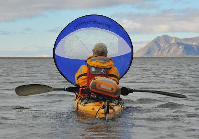 Kayak and Canoe Intended for the serious sea kayaker, this adventure sail is ideal for expeditions and big water. It gives you the ability to keep traveling long after your muscles tire. Sturdy unbreakable batten maintains its shape in high winds and accommodates high sailing angles. From the on-deck position it can be set up for self-launching before sailing or while on the water so theres no need to return to shore. Proprietary WIndHarness for rapid attachment to any boat or quickly switching between boats. It deploys in a matter of seconds. A steering line provides easy control while keeping your paddle in hand. A large transparent window in the center delivers a wide field of view. Recommended boat size is 14 ft. to 18 ft. Target wind range is 5 to 30 knots.Deployed diameter: 42.Folded diameter: 15.Sail area: 9.62 sq. ft.Weight: 13 oz. Colors: Blue, Red, Yellow. - $116.88