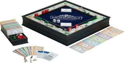 This premium edition of the classic chance and fortune game features a black-painted finish with a recessed, flocked, silver-foil stamped rolling area. The integrated storage area has lined compartments, and a wooden bankers tray keeps the banks money in order. This deluxe set also features a silver-foil-stamped game path; game cards; Monopoly money with silver-ink printing; wooden houses and hotels; and plated, die-cast tokens. Play your familys favorite classic game in style as you try to own it all! - $99.99