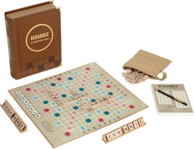 This luxurious bookshelf edition was designed to look just as good on your shelf as it is opened up for play. This collectible edition features the vintage 1948 graphics and game components, including a faux-leather book with integrated storage, a score pad and pencil, the game board, wooden tile racks, letter tiles and a fabric tile pouch with a drawstring. Make it part of your game board collection for wordsmiths of all ages to enjoy! - $44.99