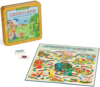 This nostalgic tin edition of the classic board game is a sweet way for young children to have fun and learn at the same time. The adventure takes you on a journey through the Peppermint Stick Forest, past the crooked, old Peanut Brittle House and through the Lollypop Woods until you reach Home Sweet Home, all the while teaching your children about colors without having to read or count. This collectible edition features the charming graphics from the 1955 edition, including the iconic gingerbread men playing pieces. The tin packaging makes it ideal for the camper, lodge or traveling. Its a great time for players of all ages with a sweet tooth for fun! - $29.99