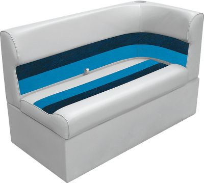 Entertainment Maintenance-free furniture boasts roto-molded plastic base, injection-molded plastic seat back and bottom, and UV-resistant 28-oz. marine-grade vinyl that will never rot, mildew or soften. Compression-foam padding delivers cushioned comfort and has a moisture barrier for water-resistant protection. Dacron polyester OEM-grade thread delivers years of lasting service. Aluminum hardware. Creates a flowing curve of continuous seating at the rear of your pontoon boat. Seat-cushion hinges for ample storage in base. Must rest against pontoon railing. Six-year warranty on frame. Three-year warranty on vinyl. Dimensions: 27-1/2H x 46W x 26D. Colors: Grey/Navy/Blue, Grey/Red/Charcoal, Sand/Chestnut/Gold, White/Navy/Blue, White/Red/Charcoal. Color: Charcoal. - $359.99