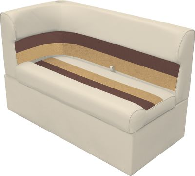 Entertainment Maintenance-free furniture boasts roto-molded plastic base, injection-molded plastic seat back and bottom, and UV-resistant 28-oz. marine-grade vinyl that will never rot, mildew or soften. Compression-foam padding delivers cushioned comfort and has a moisture barrier for water-resistant protection. Dacron polyester OEM-grade thread delivers years of lasting service. Aluminum hardware. Creates a flowing curve of continuous seating at the rear of your pontoon boat. Seat-cushion hinges for ample storage in base. Must rest against pontoon railing. Six-year warranty on frame. Three-year warranty on vinyl. Dimensions: 27-1/2H x 45W x 26D. Colors: Grey/Navy/Blue, Grey/Red/Charcoal, Sand/Chestnut/Gold, White/Navy/Blue, White/Red/Charcoal. Color: Charcoal. - $359.99