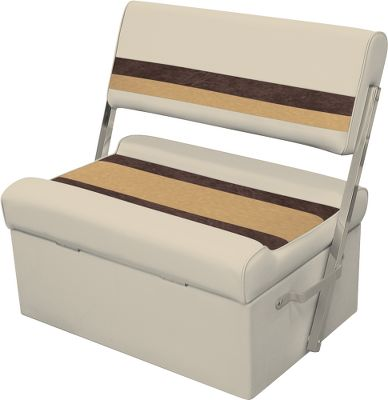 Entertainment Maintenance-free furniture boasts roto-molded plastic base, injection-molded plastic seat back and bottom, and UV-resistant 28-oz. marine-grade vinyl that will never rot, mildew or soften. Compression-foam padding delivers cushioned comfort and has a moisture barrier for water-resistant protection. Dacron polyester OEM-grade thread delivers years of lasting service. Aluminum hardware. Two-position backrest. Seat-cushion hinges allow access to storage area. Six-year warranty on frame. Three-year warranty on vinyl. Dimensions: 31-1/2H x 32W x 23-1/2D. Colors: Grey/Navy/Blue, Grey/Red/Charcoal, Sand/Chestnut/Gold, White/Navy/Blue, White/Red/Charcoal. Color: Charcoal. Type: Pontoon Furniture. - $229.99