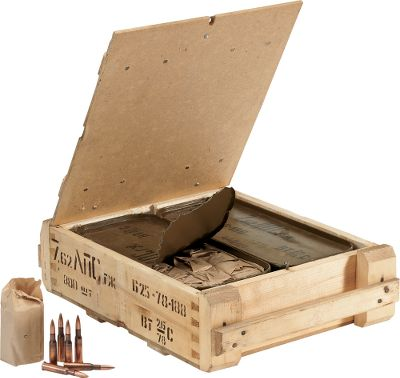 Hunting Dont pass up this rare find. You wont find a better deal on surplus ammo for your Mosin Nagant rifle. Berdan-primed, bi-metal cases are loaded with 148-grain FMJ bullets. The two 440-round sealed ammo cans ensure long storage life. Outer wooden crate simplifies transport to the range for extended shooting sessions. - $194.99