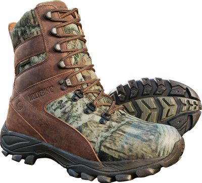 Hunting Honed for speed on rough terrain, these hunting boots still offer the comfort you expect from Wolverine work boots. Heat-trapping 600-gram Thinsulate Ultra Insulation for lightweight warmth. Moisture-wicking Wave Mesh linings increase comfort and breathability. NXT Odor Control sock liners feature an enzyme-and-microbe-treated system that digests sweat to reduce odors. Shock-absorbing, compression-molded EVA midsoles cushion each step. Rugged full-grain leather and 900-denier polyester uppers are backed by waterproof membranes for keeping feet dry. Supportive Ortholite footbeds reduce foot fatigue. Imported. Height: 9. Average weight: 2.5 lbs./pair. Mens Sizes: 8-14 medium width, 9-13 extra-wide. Half sizes to 12. Camo pattern: Mossy Oak Break-Up Infinity. Size: 9 1/2. Color: Mossy Oak Infinity. Gender: Male. Age Group: Adult. Material: Leather. - $69.88