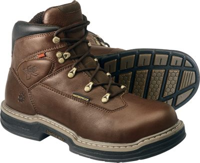 Wolverine sets a new standard with its MultiShox Individual Comfort System. The steel toe is ASTM-certified for workplace safety. Compression pads in the heel and forefoot absorb shock and return energy in each step. Removable gel insoles for additional cushioning. Waterproof full-grain leather uppers conform to the shape of your feet. Goodyear welt construction. Contour Welt engineering results in superior flexibility and lighter weight. Individual compression pads respond to your environment by absorbing shock and returning energy. Updated footbeds increase stability while Comfort Gel insoles cushion each step. The rubber outsoles are slip-, oil- and abrasion-resistant while supplying superior traction. ASTM C/75 I/75 Certified Steel Toe. Imported.Average weight: 3.5 lbs./pair. Men's sizes: 8-14 medium width, 9-13 extra-wide. Half sizes to 12.Color: Brown. - $109.88