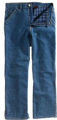 Rugged carpenter-style jeans complete with a hammer loop and 100% cotton flannel lining for cold-weather jobs. Durable triple-needle stitching and bartack-reinforced pockets. Seat gusset for ease of movement. Machine washable. Imported. Even waist sizes: 32-44. Inseams: 30, 32, 34. Colors:Hickory. Size: 40. Color: Hickory. Gender: Male. Age Group: Adult. Material: Flannel. Type: Jeans. - $39.99