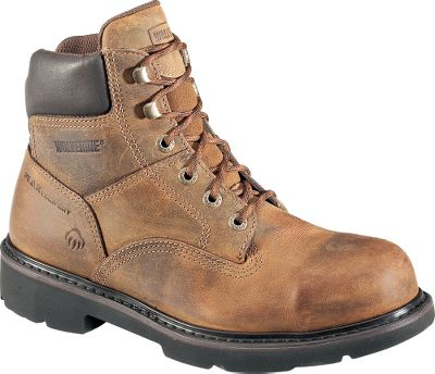 Full-grain leather uppers and padded collars combine with breathable wave mesh linings to offer long-lasting, job-site comfort. Antimicrobial mesh sock liners provide odor-resistant protection. Removable, Air Cell polyurethane footbeds and countersunk midsoles absorb shock on initial heel strike. Slip-resistant, polyurethane outsoles provide sure-grip traction on wet or dry surfaces. Resoleable Goodyear welts. Imported.Mens sizes: 8-14 medium width; 9-13 extra-wide width. Half sizes to 12. Color: Brown. - $44.91