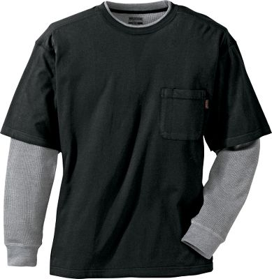 Entertainment Too warm for a jacket, but too cool for a tee shirt? The Wolverine Long-Sleeve Miter Thermal Tee Shirt is the solution. 100% cotton jersey tee with 100% cotton waffle sleeves. Comfortable layered collar. Movement-friendly side slits. Chest pocket with pencil slot. Imported.Sizes: M-2XL.Colors: Black, Navy, Olive, Oxblood, Hickory. Type: Long-Sleeve Tee Shirts. Size: X-Large. Color: Hickory. Size Xl. Color Hickory. - $10.88