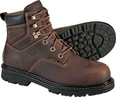 For a no-nonsense pair of work boots, these will meet your needs and theyre affordable. Theyre packed with the features that will keep your feet comfortable and you more productive. Features include waterproof full-grain leather uppers, wave mesh with waterproof membrane linings, molded EVA with performance arch footbeds, lightweight polyurethane midsoles and outsoles, and lightweight welt construction. In addition, theyre composite-toe rated ASTM F2413-05 M I/75 C/75 EH for protection from electrical current on dry surfaces. Imported. Average weight: 3.5 lbs./pair.Mens sizes: 8-14 medium width; 9-13 extra-wide width. Half sizes to 12. Color: Dark Brown. - $89.88