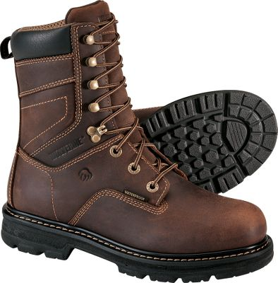 For a no-nonsense pair of work boots, these will meet your needs and theyre affordable. Theyre packed with the features that will keep your feet comfortable and you more productive. Features include waterproof full-grain leather uppers, wave mesh with waterproof membrane linings, molded EVA with performance arch footbeds, lightweight polyurethane midsoles and outsoles, and lightweight welt construction. In addition, theyre composite-toe rated ASTM F2413-05 M I/75 C/75 EH for protection from electrical current on dry surfaces. Imported. Height: 8. Average weight: 3.7 lbs./pair.Mens sizes: 8-14 medium width; 9-13 extra-wide width. Half sizes to 12. Color: Dark Brown. - $99.88