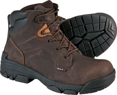 Entertainment Merlins are part of Wolverines PEAK AG Anti-Gravity Series boots that are super-lightweight, combining extreme durability and performance. Waterproof American leather uppers and wave mesh waterproof membrane linings keep feet dry. Removable Air Cell polyurethane cushion footbeds with antimicrobial mesh sock liners help your feet stay comfortable and fight odors. Compression-molded EVA midsoles and rubber outsoles encased in cement constructionsupport feet and ankles. Composite-toe rated ASTM F2413-05 M I/75 C/75 EH protects from electrical current on dry surfaces. Imported.Height: 6.Average weight: 2.8 lbs./pair.Mens sizes: 8-14 medium width, 9-13 extra-wide width. Half sizes to 12.Color: Brown. - $71.99