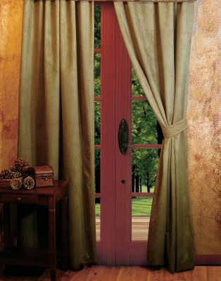 "Dress up your windows with richly colored, microsuede drapes that have a beautiful weight and finish and coordinate perfectly with the outdoor-inspired valances (sold separately). The microdenier polyester drapes are blind-hemmed and weighted in the bottom corners. They have a 2""-wide rod pocket and come with two grommeted microsuede tiebacks. Machine washable or dry-clean. Per pair. Made in USA.Size: 53""W x 84""L (per panel). Colors: Stone, Chocolate, Chestnut, Olive, Saddle. - $39.88"
