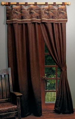 Hunting Dress up your windows with richly colored, microsuede drapes that have a beautiful weight and finish and coordinate perfectly with the included outdoor-inspired valances. The microdenier polyester drapes are blind-hemmed and weighted in the bottom corners. They have a 2-wide rod pocket and come with two grommeted microsuede tie backs. The coordinating tapestry valances have 3 microsuede tabs and outdoor scenes. Tapestry valances constructed of 52% polyester, 38% cotton, 7% olefin and 3% acrylic. Machine washable or dry-clean. Made in USA. Includes: One valance and two drape panels. Dimensions: Valance: 55W x 17L, Drapes: 53W x 84L (per panel). Available: Deer/Chocolate, Elk/Olive, Fish and Bear/Saddle, Whitetail/Chestnut, Horse/Chocolate, Moose and Pine Cones/Chestnut, Great Meadow/Chocolate, White Pine/Olive, Sutherland/Saddle, Pine Cone/Olive, Eclipse Gemstone/Chocolate. - $99.99