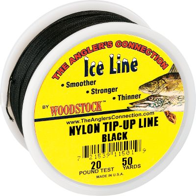 Fishing Woodstock makes some of the toughest, yet most subtle tip-up line around. Its unique round configuration and tightly braided nylon make the line exceptionally strong and manageable. The line is subjected to a three-step heat-set and waterproofing process that reduces stretch and freeze-up. You wont find a tip-up line that performs better, is more durable or has more hook-setting power. Made in USA. Available: 15-, 20-, 25-, 30-lb. test - 200-yard spool 50-lb. test - 150-yard spool Color: Red. Color: Red. - $9.49