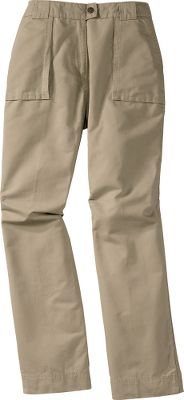 "With articulated knees and a contemporary fit that sits 1-1/4"" below the waist, these pants were made to match your every move. 100% cotton dobby with a lightly peached finish for gentle softness. Two front pockets and two back patch pockets with flaps. Imported. Colors: Cinder, Khaki. Inseam: 31"". Even waist sizes: 4-18. - $19.88"