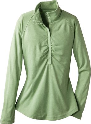 Form-flattering shaping darts matched with soft gathers on the turtleneck and center bust provide a cozy fit and a touch of elegant style. Deep zip for added ventilation. Curved hem. Made of 5-3/4-oz. 65/35 polyester/cotton heather jersey. Imported. Center back length: 25. Sizes: S-2XL. Colors: Grey Heather, Herb. - $4.88