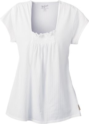 Smocking detail at front neck. Shoulder seam gathers. Cap sleeves. UPF rating of 15. 100% cotton pointelle. Imported. Center back length for size Medium:27. Sizes: S-2XL.Colors: White, Light Calypso, Lighter Blue Moon. - $19.88
