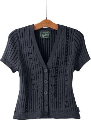 "Cropped sleeves and a plated, multistitched cable-knit design give it eye-catching texture and flattering shape. Made of soft, 100% cotton with hand-embroidered stitched accents. Imported.Center back length: 20"".Sizes: S-2XL.Color: Black. - $14.88"