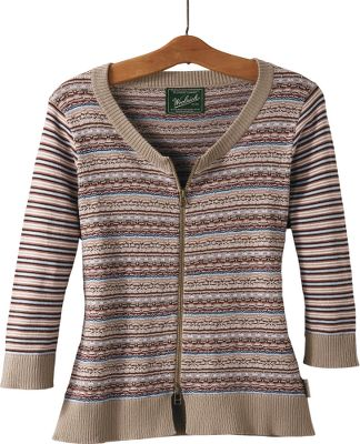 The two-way center zipper enhances the versatility of this lightweight, fine-knit cropped cardigan. Elbow-length striped jersey sleeves complement the tuck-stitch fairisle body. Rib-knit scoop neck. 100% cotton. Hand wash. Imported. Center back length: 22.Sizes: S-2XL.Color: Dark Khaki. - $14.88