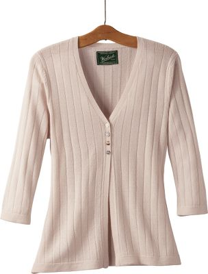 Slip on a cardigan with the soothing softness and wind-blocking warmth of 100% merino wool. Highlights include novelty zig-zag rib stitching and winsome mismatched buttons. Imported.Center back length: 25. Sizes: S-2XL.Color: Stone. - $19.88