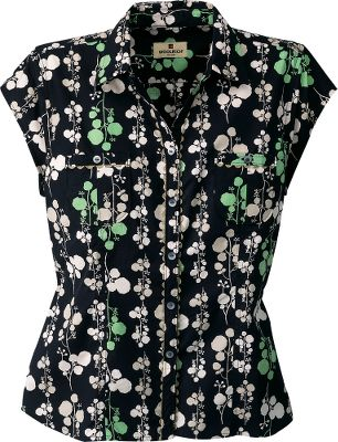 Floral fun on its own or matched with a cardigan or jacket. Boulder-washed for a broken-in look and feel. Flattering soft waistline taper with open collar and two small, button chest pockets. Cap sleeves. 3.25-oz. cotton poplin. Imported. Center back length: 24-1/2. Sizes: XS-2XL Colors: Blueberry, Black. - $19.88