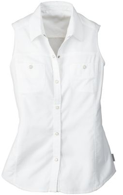 A sleeveless shirt that offers enhanced air conditioning on especially hot days. Details include faux-pearl snap closures along the placket and pockets and decorative zigzag stitching. 3-1/4-oz. cotton yarn-dyed oxford. Machine washable. Imported.Center back length: 26. Sizes: S-2XL. Colors: White, Lilac, Mulberry, Bleached Denim. - $9.88
