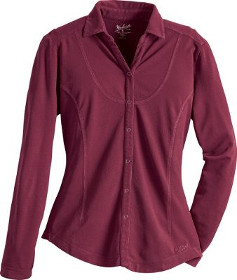 Pure cotton crepe sweater feels good on your skin. Classic button-snap front and cover-stitched seams. Boulder-washed for softness. Imported. Sizes: S-2XL. Colors: Atlantic, Deep Ruby. Size: Small. Color: Atlantic. Gender: Female. Age Group: Adult. Material: Cotton. Type: Long-Sleeve Shirts. - $29.88