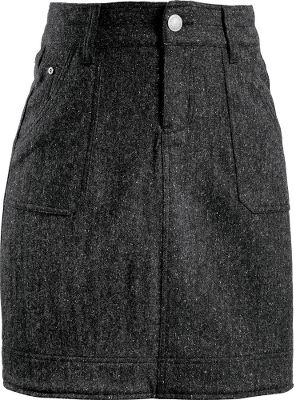Traditional, jean-style skirt with a five-pocket design is durable as well as comfortable. Stay outside and enjoy yourself even longer, thanks to a UPF rating of 50. Corduroy trim inside the waistband with a stretchy, tricot lining. 50% wool/23% polyester/22% viscose/4% silk /1% Lycra tweed blend. Imported. Length: 17.5. Sizes: 4-18. Color: Onyx. Size: 14. Color: Onyx. Gender: Female. Age Group: Adult. Material: Polyester. Type: Skirts. - $55.20